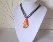 Sunny Orange Floral Teardrop Necklace Pendant  from Polymer Clay