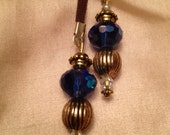 Bookmark Leather Blue Glass Beaded Bookmark