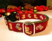 Christmas stockings designer ribbon on one inch (2.54 cm) olive webbing, side release, adj., Dog Collar