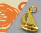 Gold Sailboat Boat Yacht Charm