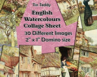 "English Watercolours Digital Collage Sheet  - 2"" x 1"" domino size tags  x 30 - Great for scrapbooks, card making, tags Instant Download"