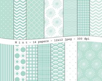 Mint green digital scrapbooking paper pack - 14 printable jpeg papers, 12x12, 300 dpi - instant download