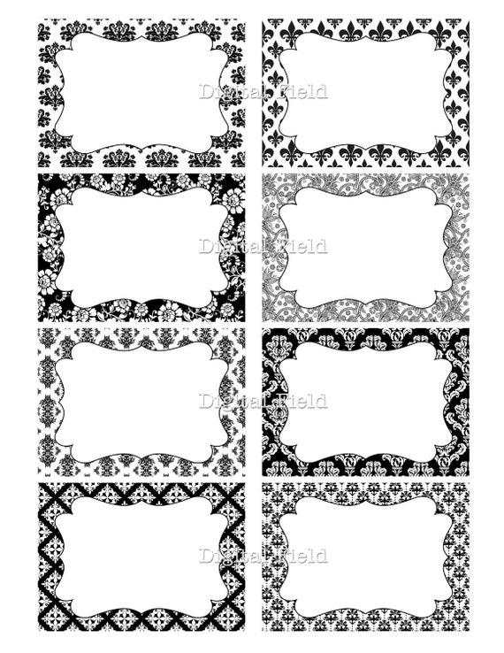 Damask & Floral printable digital journaling cards, tags or labels ...