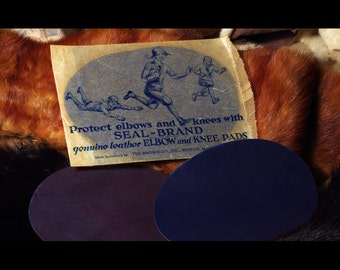 Blue Vintage Collectible Leather and Suede Elbow and Knee Pads Patches
