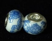 European Style Glass Beads (2) .925 Sterling Cores
