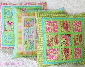 Charming Pink and Green Pillow Cover -- OOaK