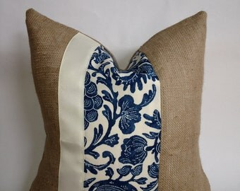 Blue and Cream Floral Indoor/Outdoor Fabric and Burlap Pillow Cover