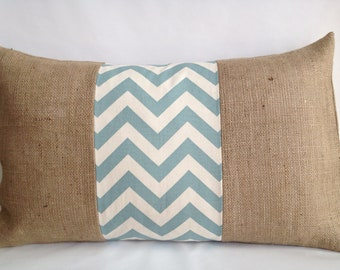 Village Blue and Natural Chevron and Burlap Pillow Cover