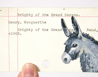 Brighty of the Grand Canyon - Print of donkey painted on library card catalog card for Brighty of the Grand Canyon by Marguerite Henry