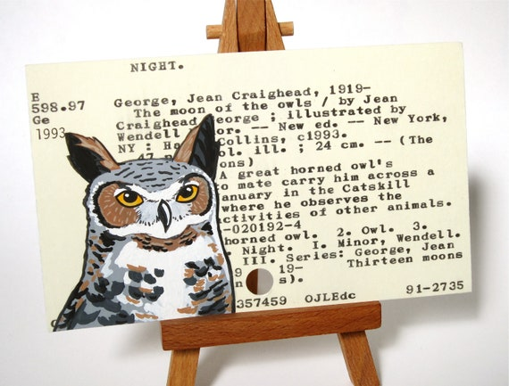 RESERVED - Original painting - Great Horned Owl - The Moon of the Owls
