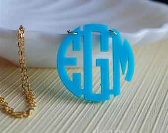 circle monogram acrylic necklace