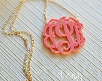 entwined monogram acrylic necklace