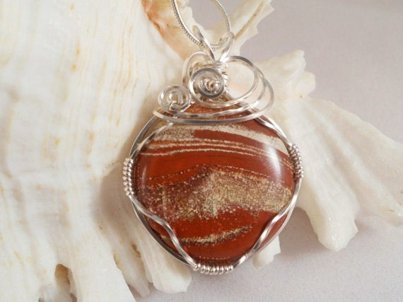 Wire Wrapped Cappuccino Jasper Pendant Necklace, Handmade Jewelry