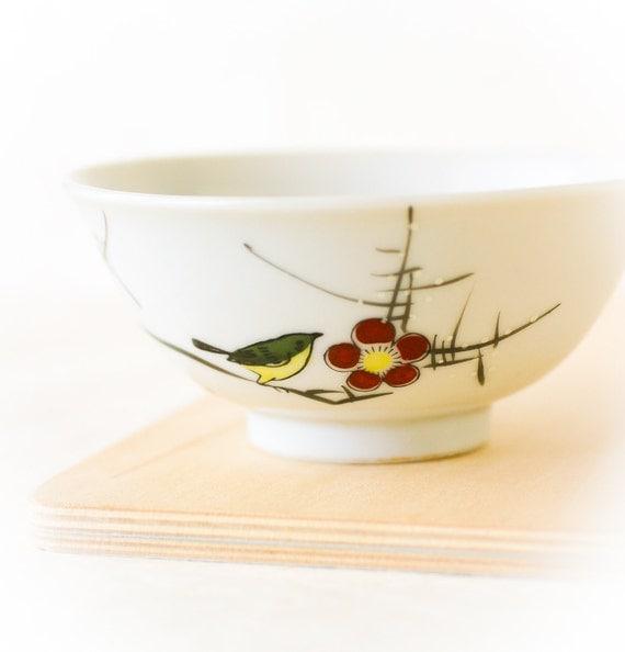 Vintage Rice Bowl Chawan, YY Made in Japan, Mejiro Plum Blossom Ume