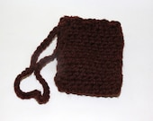 Crochet Soap Saver Sack on a rope - Brown