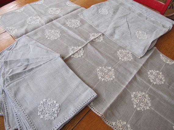 Reserved for Jasmine Please Do Not Buy Vintage Silver Gray Linen Set, 8 Linen Napkins, 8 Linen Placemats, Embroidery Table Linen Set