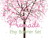 LARGE - Etsy Banner Set - Premade Etsy Banner - Etsy Shop Banner - Pink Blossom Tree 136 - Icon Included!