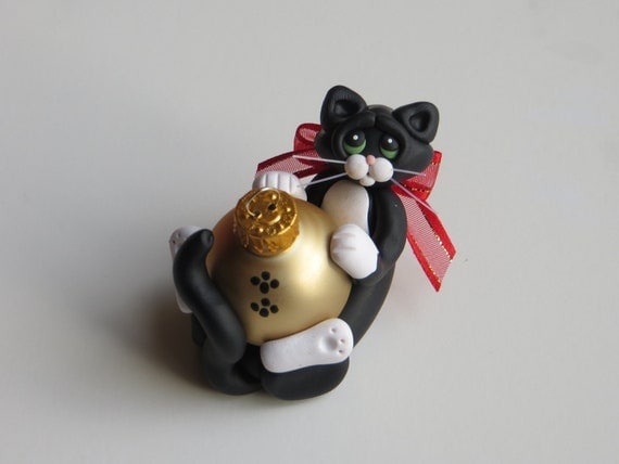 Polymer Clay Christmas Ornament Tuxedo Cat Personalized Figurine
