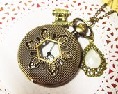 Yin yang Pocket Watch Necklace with Golden telescope and Shinning White Gem Pendant