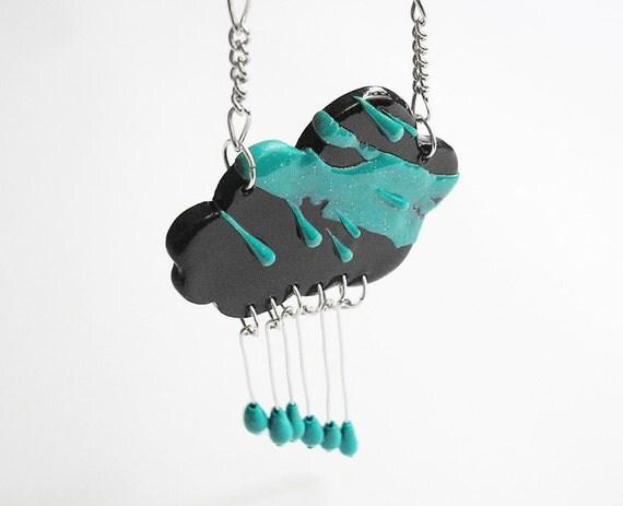 Just Like the Rain / Handmade polymer clay necklace