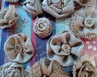 Assortment of Ten Burlap flowers