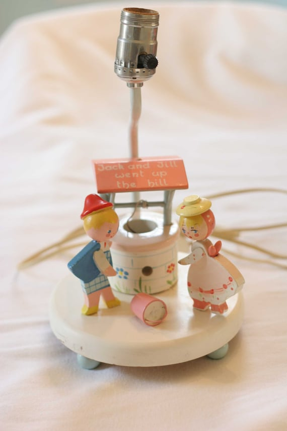 Vintage Irmi Jack and Jill Lamp Nightlight Nursery Decor 1965