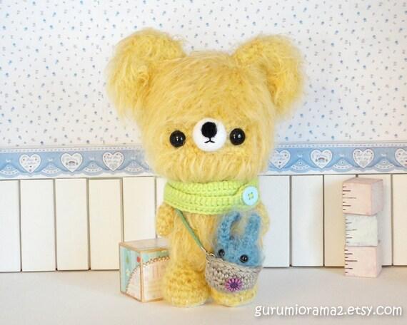 amigurumi Bear kawaii Collectibles light yellow fuzzy and blue mini Dust Bunny - Ready to Ship