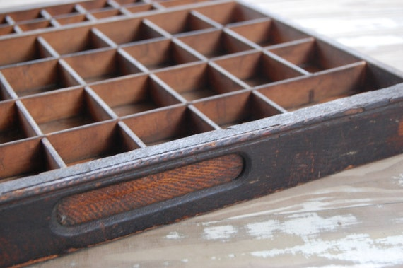 Antique wood divided drawer for crafting - printer drawer - smaller size - 16 x 16