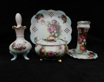 True Romance Vanity Set: Hand decorated Porcelain Wild Garden Rose, Mom, Mothers Day