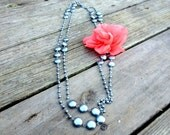 Beaded Silver Necklace with Flower Pin