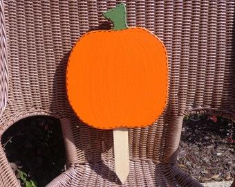 Large  pumpkin wooden yard stake sign
