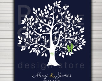 DIY printable wedding alternative guest book. Tree with 130 leaves. Love birds and baby in nest on request.
