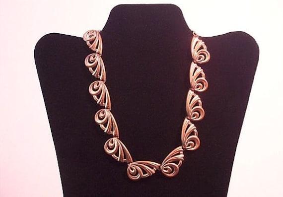 Renoir Copper Necklace Choker Vintage Modernist Design