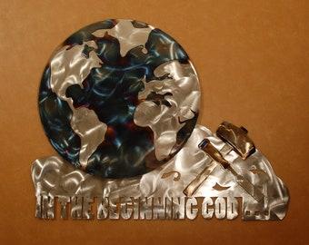 Christian metal wall art sculpture of the world