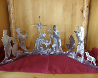 Large metal nativity all-in-one set