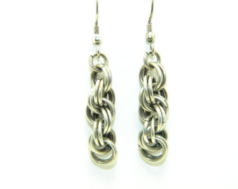 Sterling Silver Oxidized Rope Chain Maille Earrings, Dangles, Chic