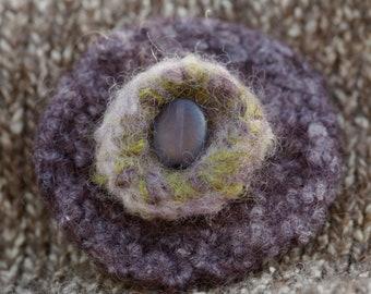 Purple felted flower brooch