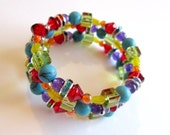 Rainbow beaded memory wire bracelet