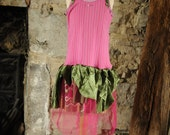 Fairy costume Pink & green fairy dress Halloween costume Witch costume Age 11 - 12 yrs upcycled clothing