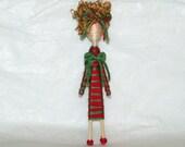 Hottie Helen-Custom Cupie Folk Art Pin Brooch