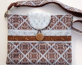 iPad or tablet Padded Case with removable, adjustable strap - Swiss Chocolate fabric by Amanda Murphy