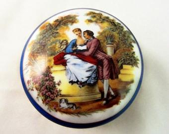 Imperial Porcelain Keepsake Box Brass HardwareRomantic Couple, Vintage Victorian Vanity Gift for Her