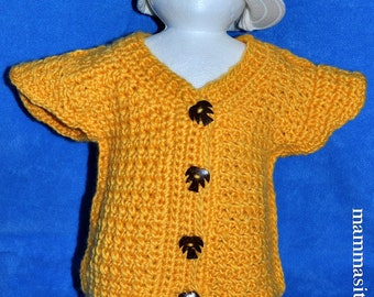 Yellow crochet vest for baby about size 6-18 ms with 4 sweet coconut-palm-buttons