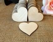 50 Wooden Hearts Natural Wood Heart shaped Gift Tag , Wedding Decoration , Bridal Shower , Escort Card , Place Card