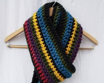 Super long mega scarf hand crocheted scarf multi colored hippie scarf stripe red green yellow purple black teal Bohemian scarf fringe
