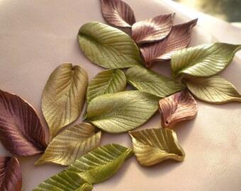 """0.7"""" simple metallic leather leaves."""