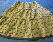 Girl's Twirly Skirt, Girl's ruffled skirt, Children's clothes, Handmade,  Lt. yellow and blue corduroy skirt, Modest skirt,  Girl's size 8