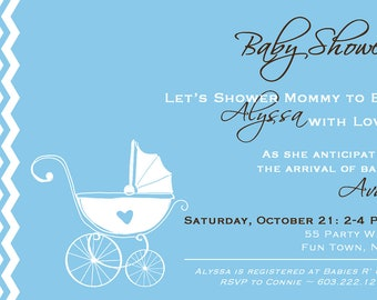 Baby Carriage Baby Shower Invitation Boy Invitation Carriage Shower Invitation Vintage Invitations Printable Baby Shower Carriage Invitation