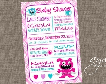 Baby Shower Invitation Monster - Monster Baby Shower Invite Girl Plaid - Baby Shower Monster Plaid - Pink Purple Teal Hearts Words Text