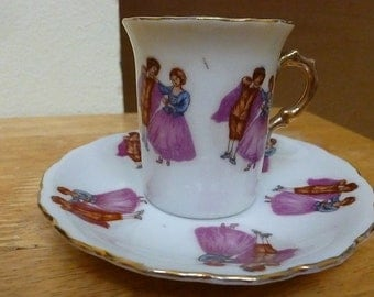Demitasse Cup and Saucer Victorian Woman Man